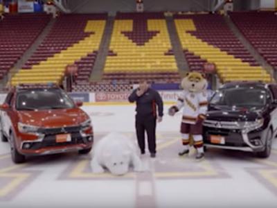 Mitsubishi三菱车厂拍广告 大白熊频频滑倒场面爆笑