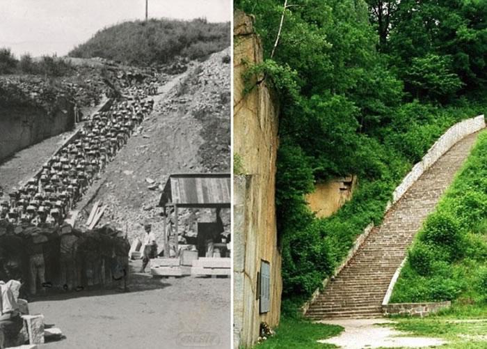 集中营的楼梯以碎石建成。右图为已修葺完毕的楼梯。