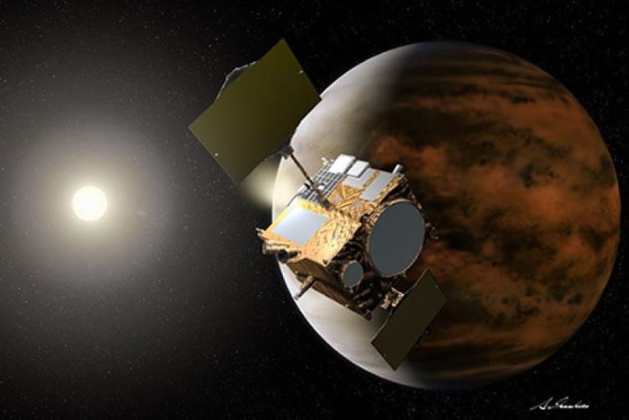 科学家构想破晓号接近金星的画面。