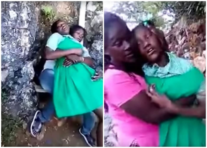 身穿绿色连身裙的女童失去意识 。