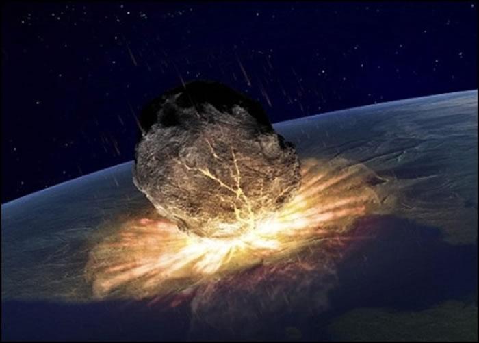 小行星或彗星撞地球将会导致人类末日。图为构想图。