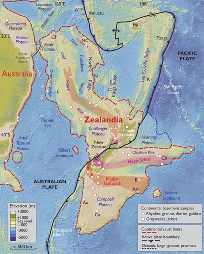 澳大利亚东部发现世界第八洲Zealandia:面积490万平方公里 8500万年前沉入海中