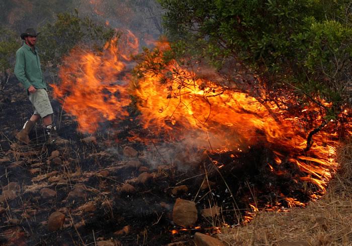 武装牧民放火烧死动物,以利抢水。