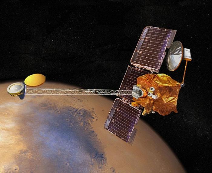 """最新发现的""""大拇指沙丘""""由火星奥德赛轨道器的热辐射成像系统(THEMIS)拍摄"""