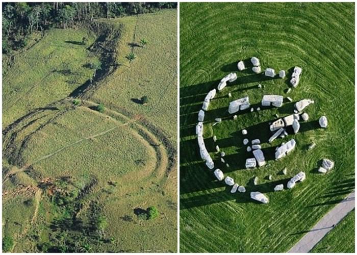 巴西两林的巨大图案(左图),与巨石阵(右图)有几分相似。