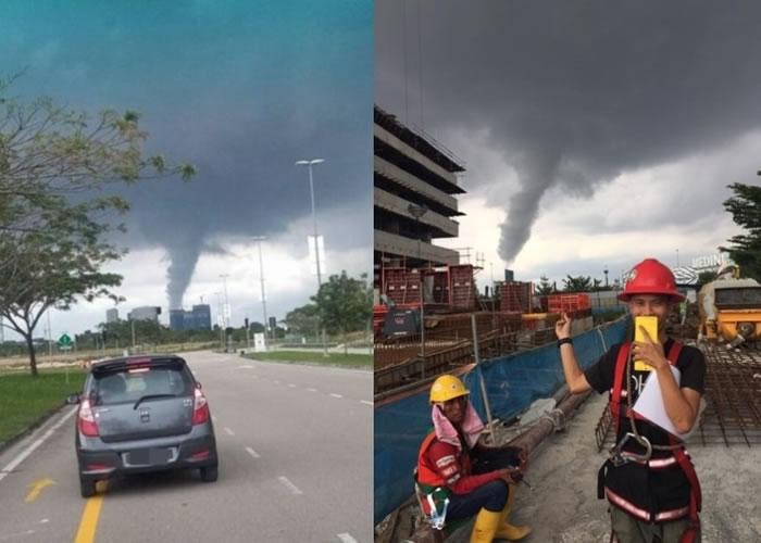 不少民众拍下龙卷风的照片。