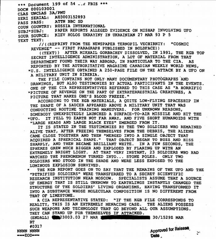 有关外星人的解密档案,可于CIA网上资料库找到。