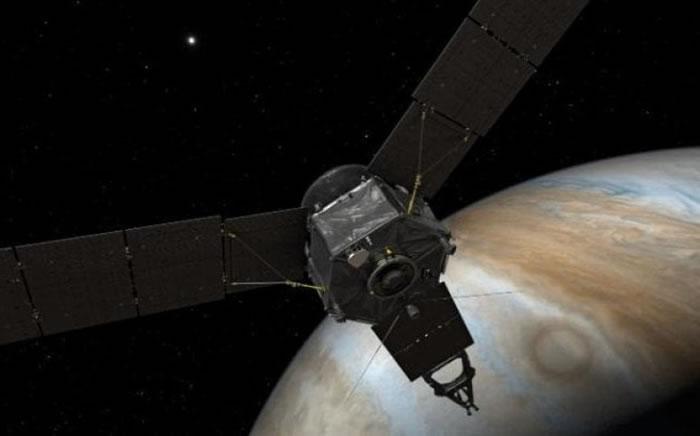 """""""朱诺号""""正在木星上空执行任务。"""