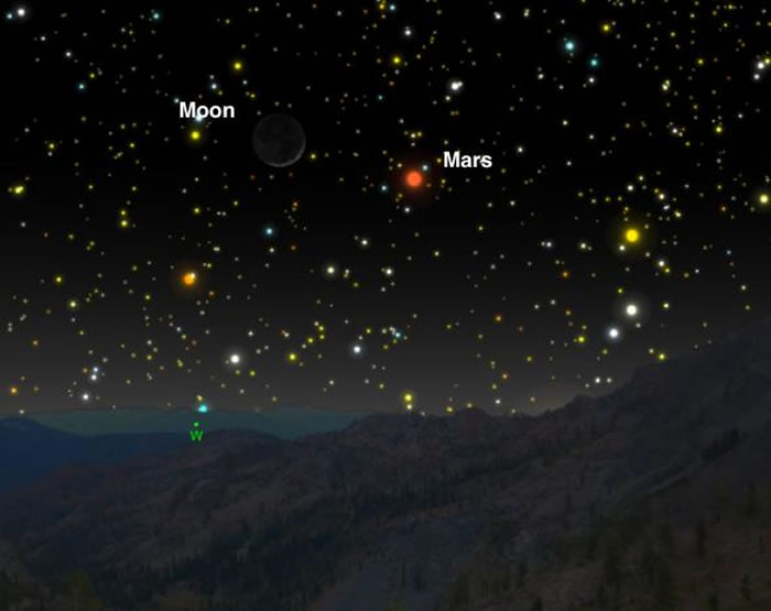 3月底时,残月会和火星再次相遇。 SKYCHART BY A. FAZEKAS, SKYSAFARI