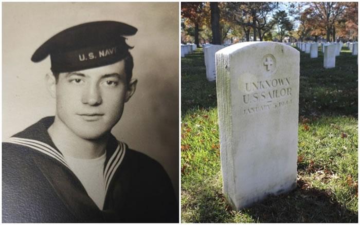 公墓内有墓碑刻有无名英雄水兵字样(图右)。左图是其中一名仍被列为失踪的水兵。