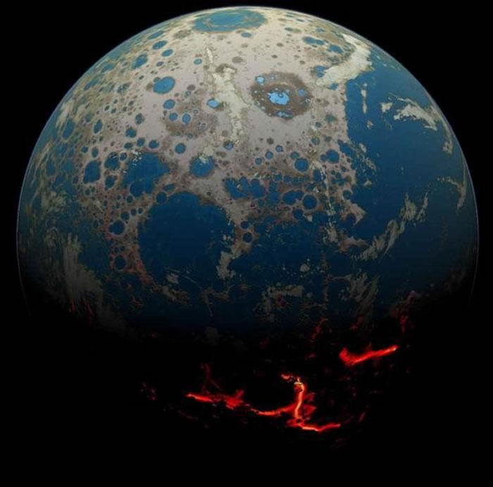 如图所示,这是艺术家描绘的早期地球,揭示岩浆从地球表面喷涌,以及彗星碰撞残留的疤痕。目前,科学家最新研究发现地球上最古老的生物证据,其历史可追溯至38-43亿年