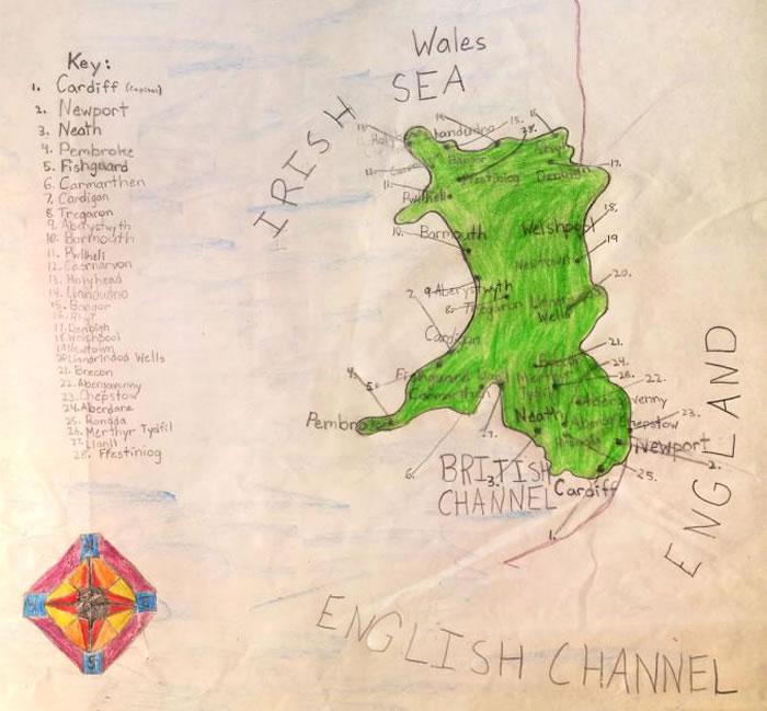 「威尔斯」,艾尔克・史坦纳约十岁的作品。 MAP BY ERIK STEINER