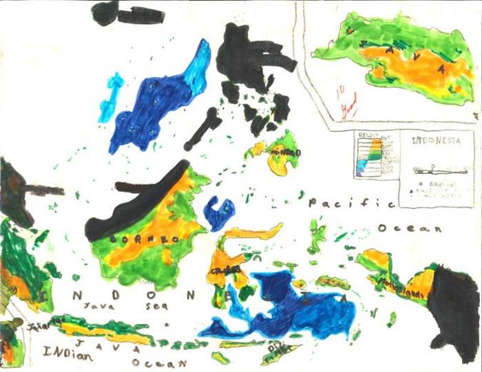 「印尼」,马修・汉普顿约九岁的作品。 MAP BY MATTHEW HAMPTON