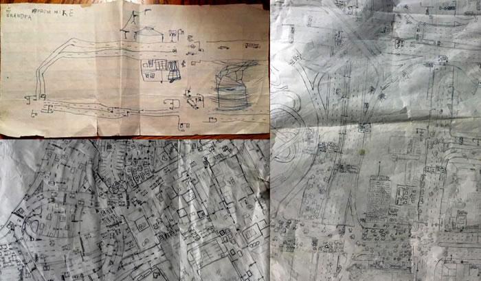 麦克・佛斯特创作的三幅地图,自左上角顺时钟顺序依序为:「麦克给爷爷」,约五岁时的作品;「卡鲁美城」(Calumet City),九岁时的作品;「韦
