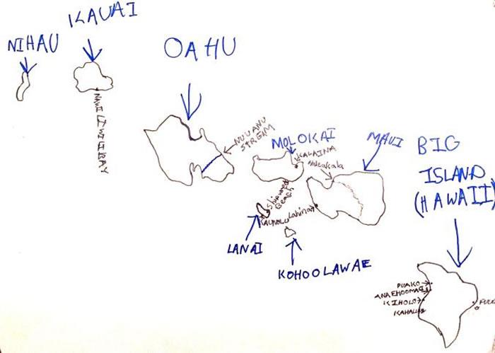 「夏威夷」,安迪・伍卓夫,约七岁时的作品。 MAP BY ANDY WOODRUFF