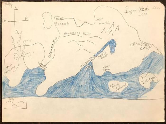 「食物岛」,贝西・玛森约九岁时的作品。 MAP BY BETSY MASON