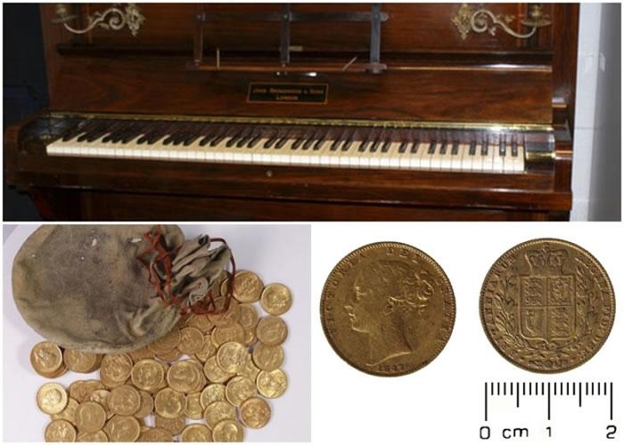 """专家认为金币是被人""""故意隐藏""""在钢琴里。"""