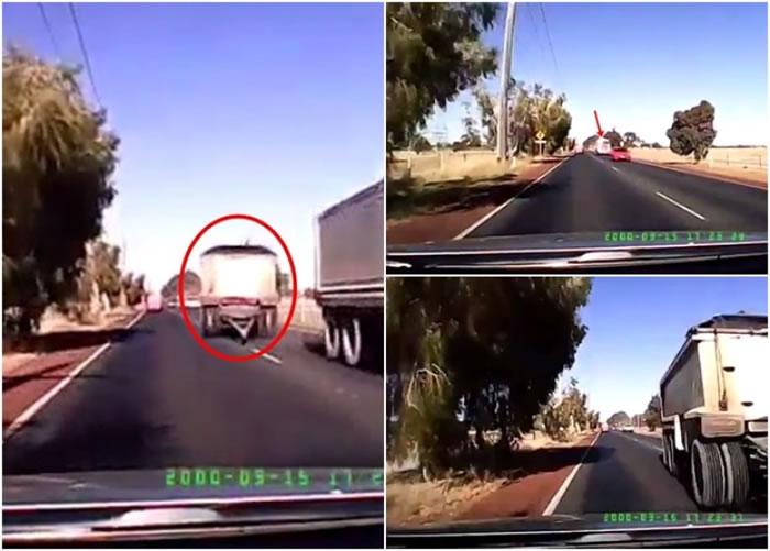 女司机的汽车险被货柜拖架迎面撞上,有惊无险。