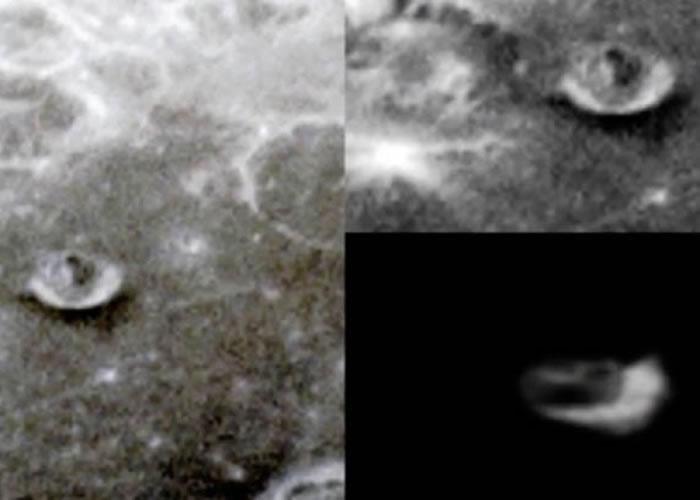 发片者以近日发现的不明飞行物体(右下),与该阴影作对比。