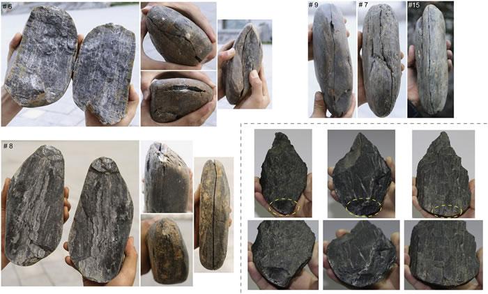 砸击法实验剥片产生的大石片(虚线左、上侧)与采用砸击石片加工的考古标本(虚线右下侧)的对比(李浩供图)
