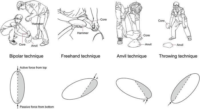 砸击法、锤击法、碰砧法和摔碰法剥片示意(李浩供图)