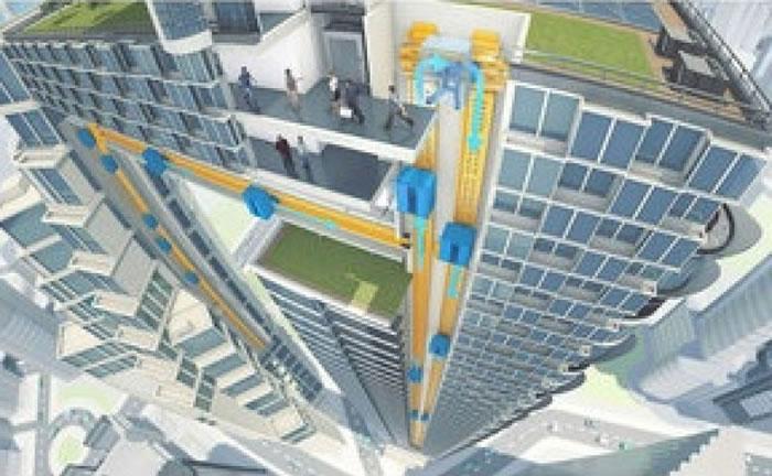 大楼内的电梯可横向移动。