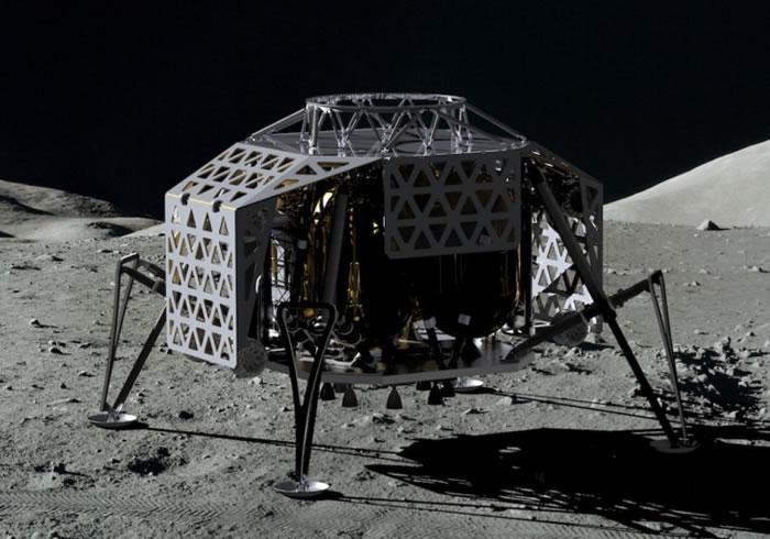 登陆器着陆月球的概念图。