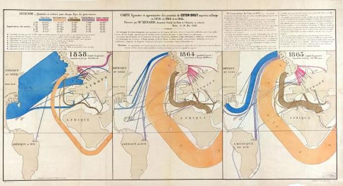 米纳德开创了数种主题制图技术,这些地图分别呈现出1858年、1864年以及1865年时棉花的产地以及进口到欧洲的情形。 MAP COURTESY LIBRARY