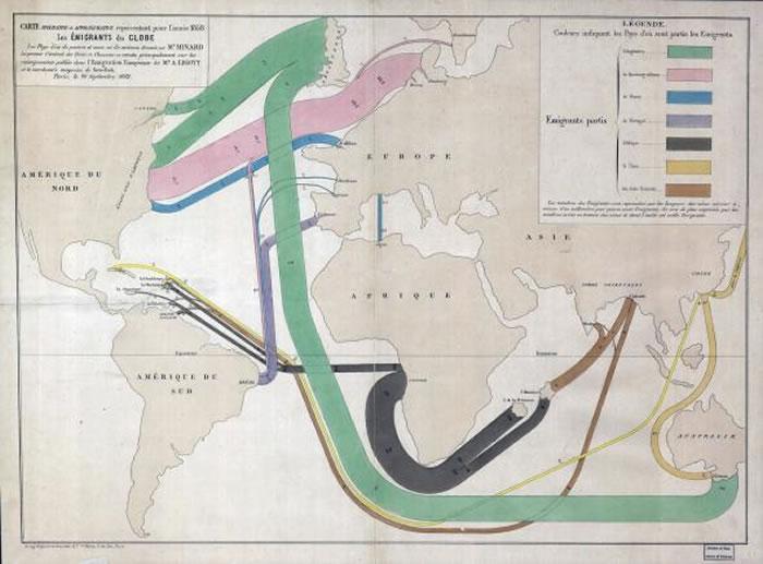 1858年全球移民的流线图,色块代表移民者的母国,线宽代表移民人数(一毫米相当于1500人)。 MAP COURTESY LIBRARY OF CONGRESS