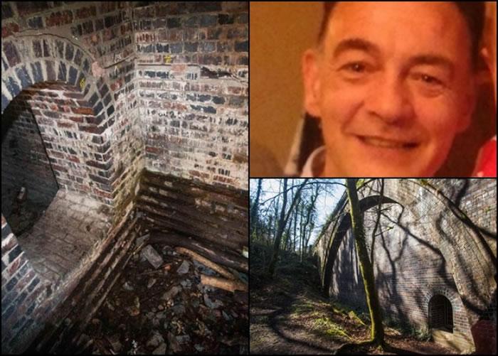 汤马逊(右上角)被困在普林普顿树林中的桥下洞穴。