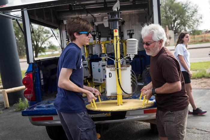 极端天气研究中心创办人兼追风队领袖胡文博士(右),常亲力亲为准备器材。