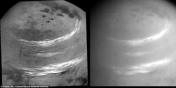 卡西尼号飞抵土卫六上空拍下罕有云层照 海洋上飘浮着甲烷气云