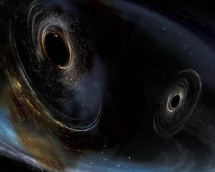 这张想像图描绘出遥远宇宙中的两个黑洞合并的景象。最近侦测到的重力波讯号,就是源自这起事件。 IMAGE COURTESY AURORE SIMONNET, LI