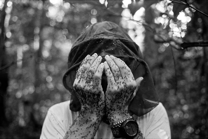 2002年,一张在刚果共和国的瓜鲁格三角地带(Goualougo Triangle)、身上爬满汗蜂(sweat bees)的自拍照。 PHOTOGRAPHY B