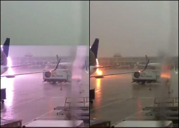 片段拍到闪电击中停机坪地面一刻。
