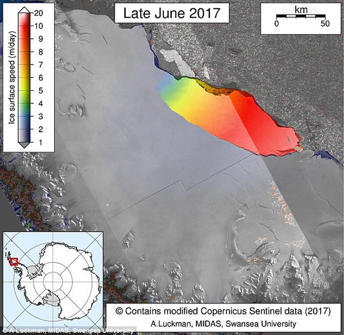 万亿吨重巨型冰山从南极拉森-C冰架断裂脱落 面积如5个香港