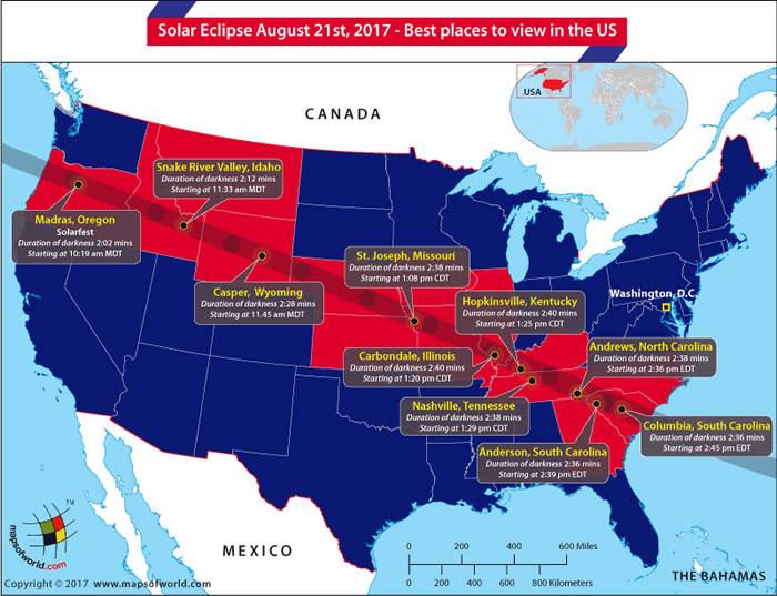 """""""美国大日食"""":美国将于8月21日出现日全食奇景"""