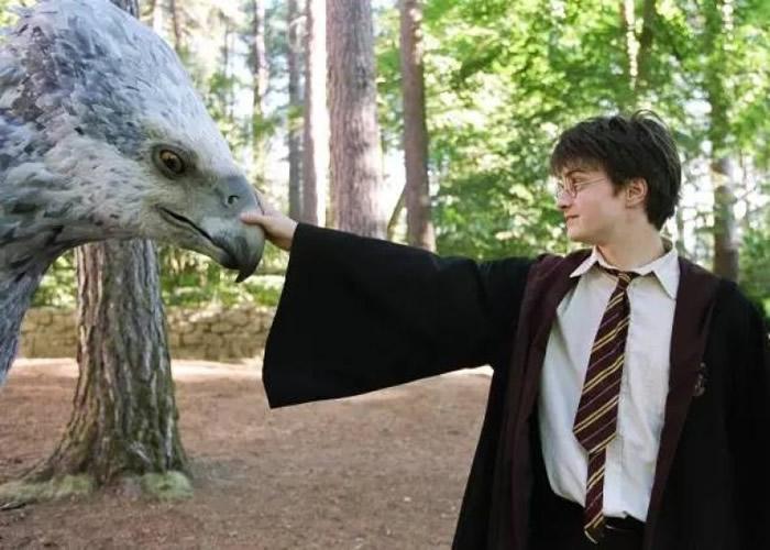 其中一本新书是介绍霍格华兹魔法学校课程,包括奇兽饲养学。图为电影剧照。