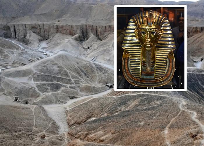 考古学家在帝王谷发现可能属于图坦卡门(小图)妻子的坟墓。