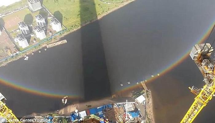 俄罗斯圣彼得堡高楼目击圆形彩虹 壮丽悬空网民称奇