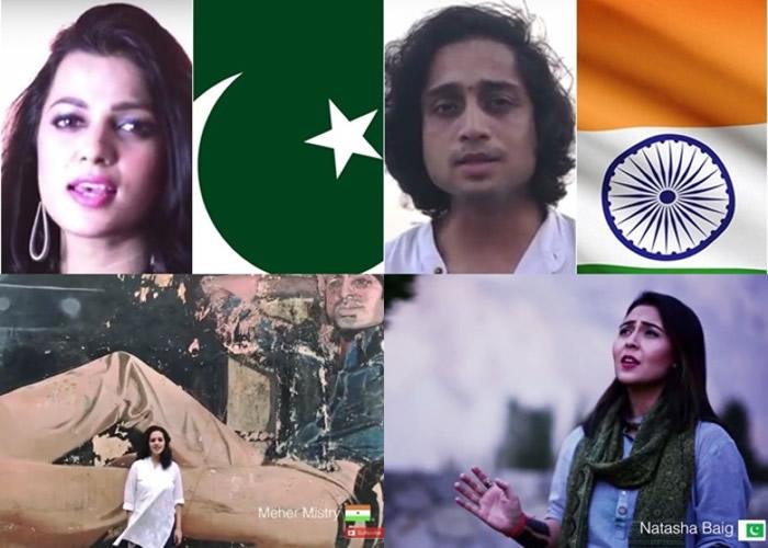 印巴两国歌手合唱和平之歌。