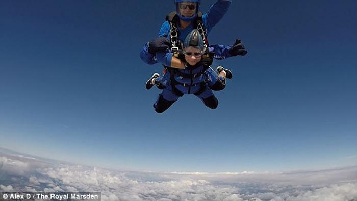 英国伦敦90岁老婆婆挑战高空跳伞