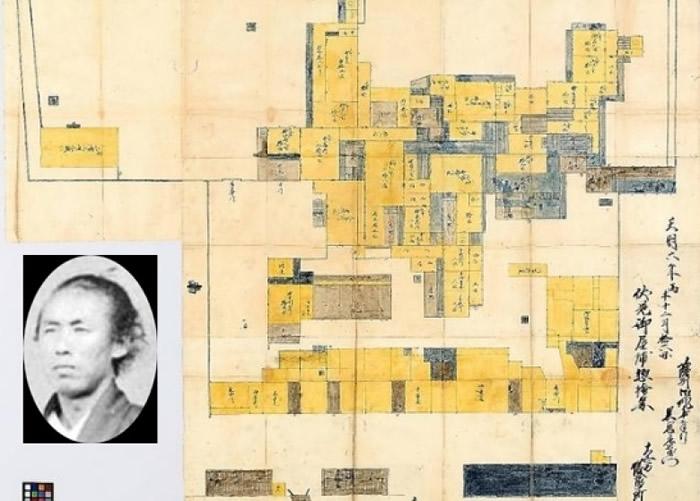 阪本龙马(小图)当年的逃难地平面图被发现。
