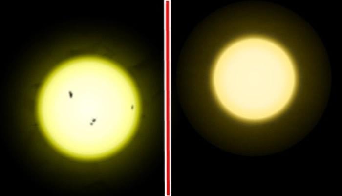 太阳(左)比天仓五(右)更热更明亮。