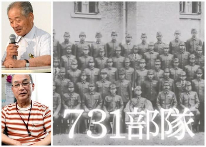 清水英男(左上图)及神谷则明(左下图)分别为731部队的恶行作证。