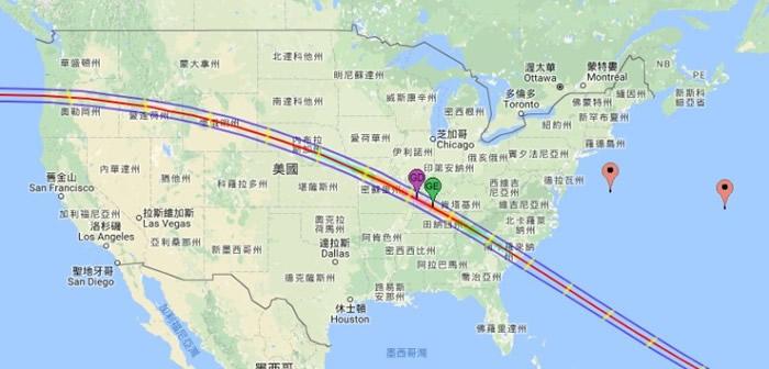 美国东西两岸多个州分都能观赏到日全食。