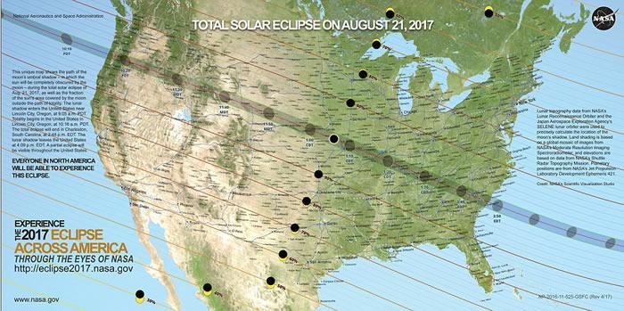 美国百年一遇超级日全食8月21日华丽上演 在各地掀起日食热