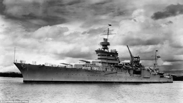 微软始创人保罗艾伦搜索团队寻获二战时遭日本潜艇击沉的美国巡洋舰印第安纳波利斯号