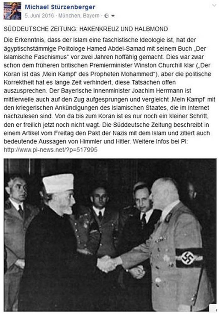 德国记者在脸书上张贴1941年纳粹将领与侯赛尼会面握手合照遭判6个月
