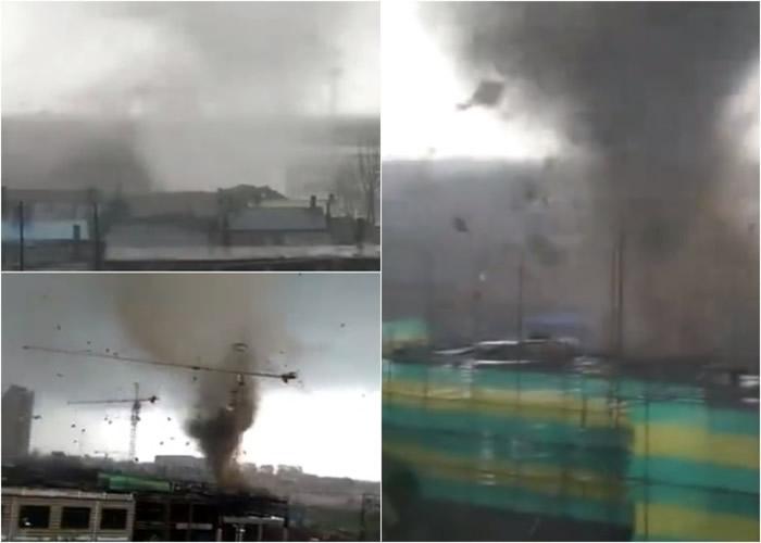 嫩江县城南市区上空出现一道灰白色、浑浊的龙卷风,持续约10分钟。